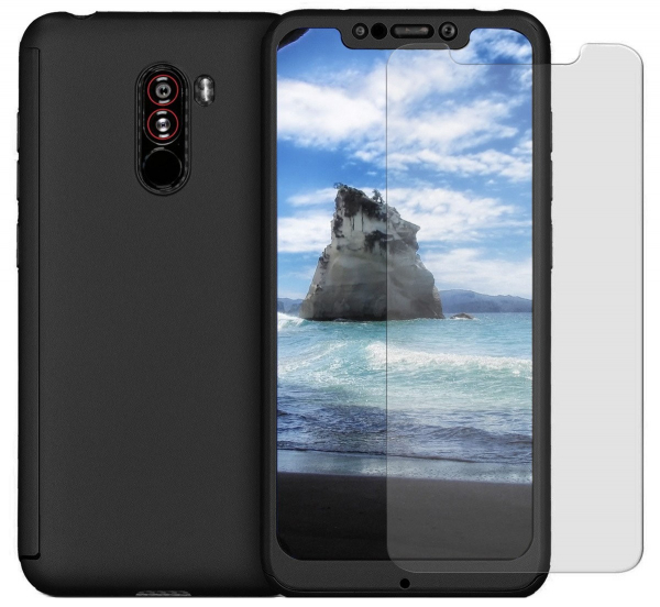 Husa Full Cover 360 + folie sticla pentru Xiaomi Pocophone F1, Negru 0