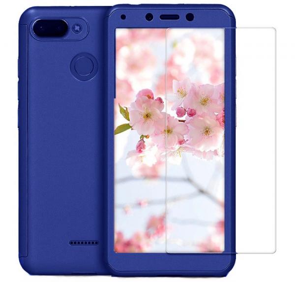 Husa Full Cover 360 + folie sticla pentru Xiaomi Redmi 6, Albastru 0
