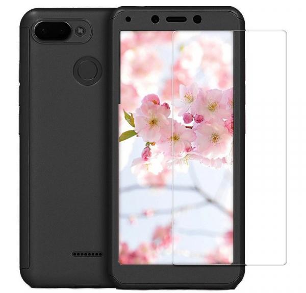 Husa Full Cover 360 + folie sticla pentru Xiaomi Redmi 6, Negru 0