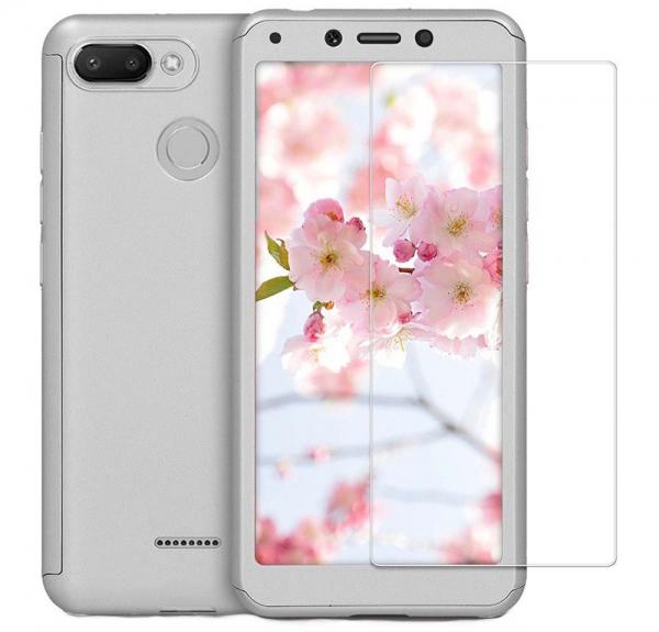 Husa Full Cover 360 + folie sticla pentru Xiaomi Redmi 6, Silver 0