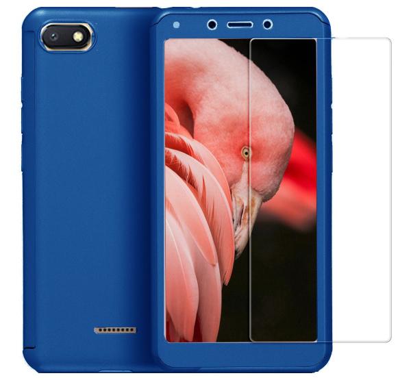 Husa Full Cover 360 + folie sticla pentru Xiaomi Redmi 6A, Albastru 0