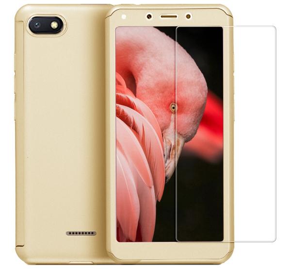 Husa Full Cover 360 + folie sticla pentru Xiaomi Redmi 6A, Gold 0