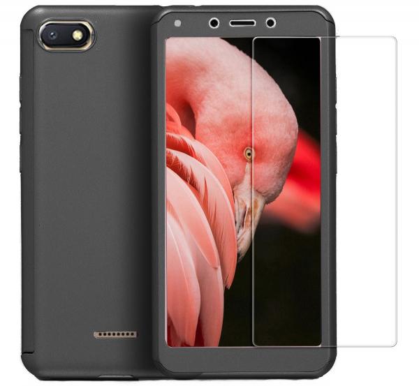 Husa Full Cover 360 + folie sticla pentru Xiaomi Redmi 6A, Negru [0]