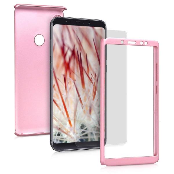 Husa Full Cover 360 + folie sticla pentru Xiaomi Redmi Note 5 Pro, Rose Gold 1