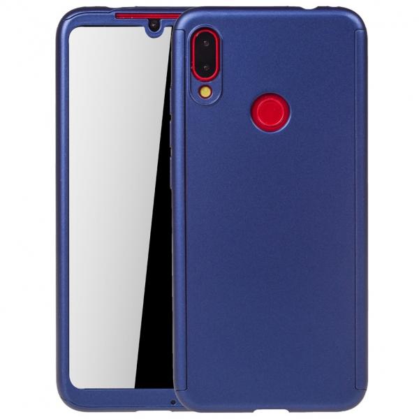 Husa Full Cover 360 + folie sticla pentru Xiaomi Redmi Note 7, Albastru 0