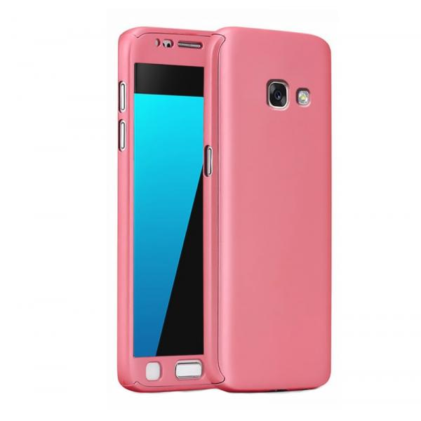 Husa Full Cover 360 + folie sticla Samsung Galaxy A3 (2017), Rose Gold 0