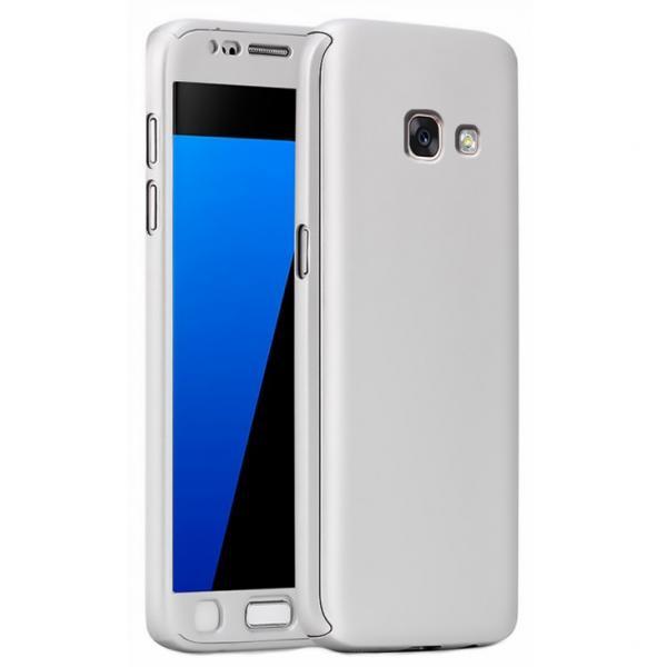 Husa Full Cover 360 + folie sticla Samsung Galaxy A3 (2017), Silver