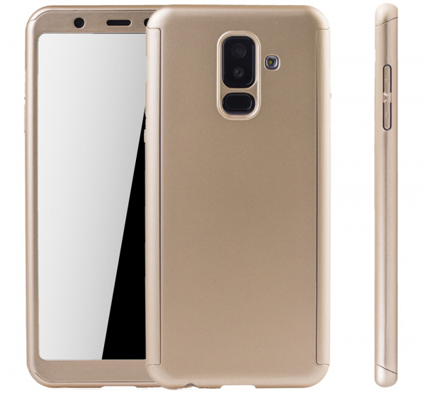 Husa Full Cover 360 + folie sticla Samsung Galaxy A6+ (2018), Gold 1