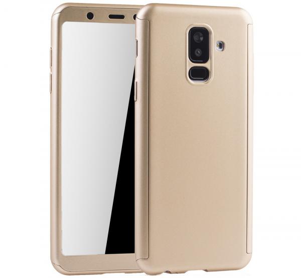 Husa Full Cover 360 + folie sticla Samsung Galaxy A6+ (2018), Gold 0