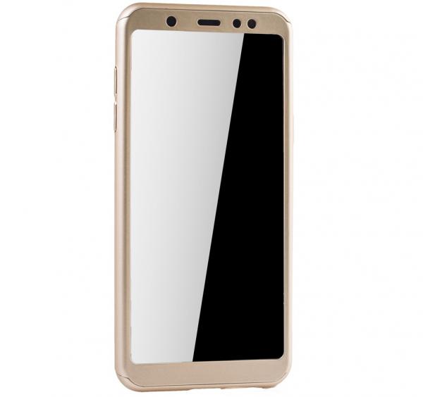 Husa Full Cover 360 + folie sticla Samsung Galaxy A6 (2018), Gold 1