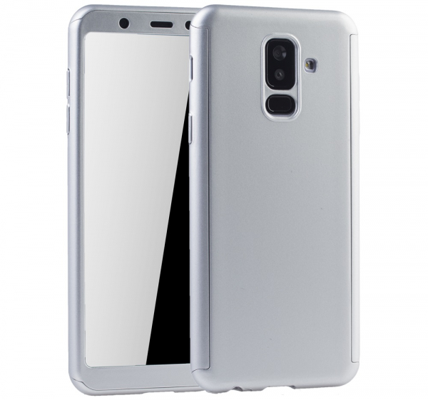 Husa Full Cover 360 + folie sticla Samsung Galaxy A6+ (2018), Silver 0