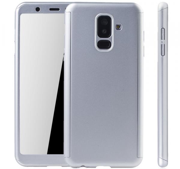Husa Full Cover 360 + folie sticla Samsung Galaxy A6+ (2018), Silver 3