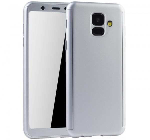 Husa Full Cover 360 + folie sticla Samsung Galaxy A6 (2018), Silver 0