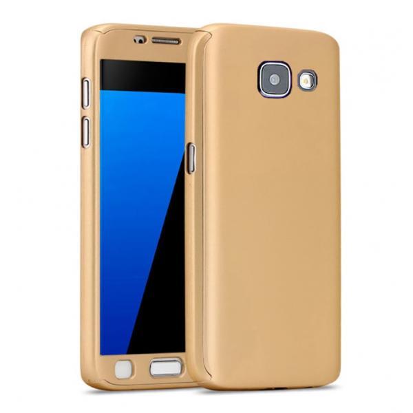 Husa Full Cover 360 + folie sticla Samsung Galaxy A7 (2016), Gold 0