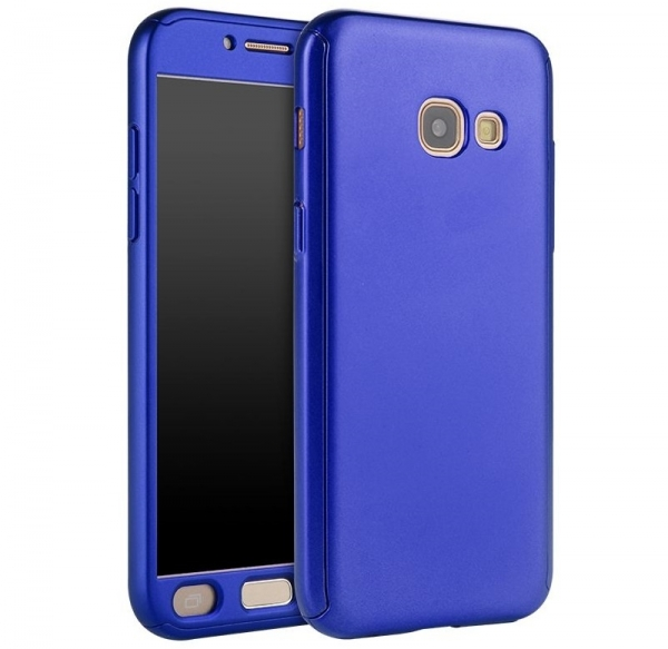 Husa Full Cover 360 + folie sticla Samsung Galaxy A7 (2017), Albastru 0