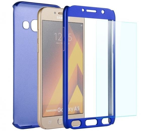 Husa Full Cover 360 + folie sticla Samsung Galaxy A7 (2017), Albastru 1