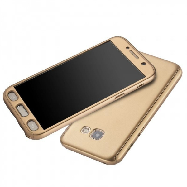 Husa Full Cover 360 + folie sticla Samsung Galaxy A7 (2017), Gold 2