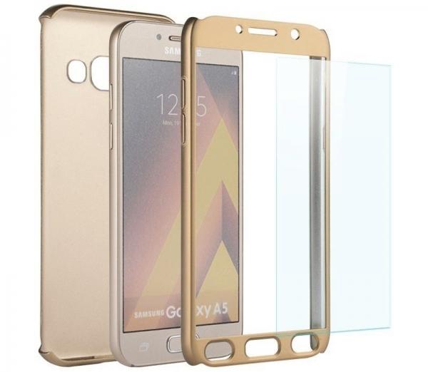 Husa Full Cover 360 + folie sticla Samsung Galaxy A7 (2017), Gold 1