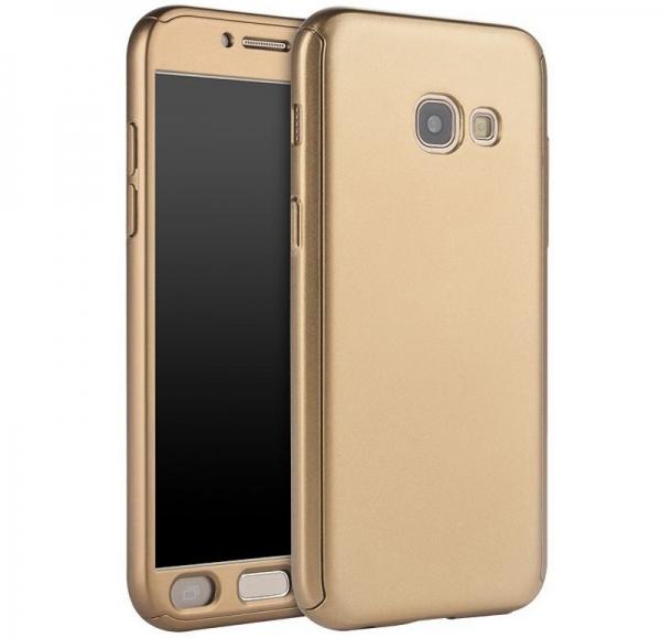 Husa Full Cover 360 + folie sticla Samsung Galaxy A7 (2017), Gold 0