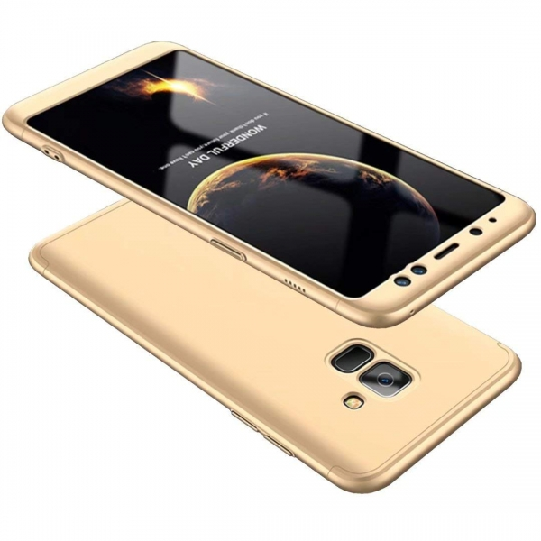 Husa Full Cover 360 + folie sticla Samsung Galaxy A8 (2018), Gold [0]