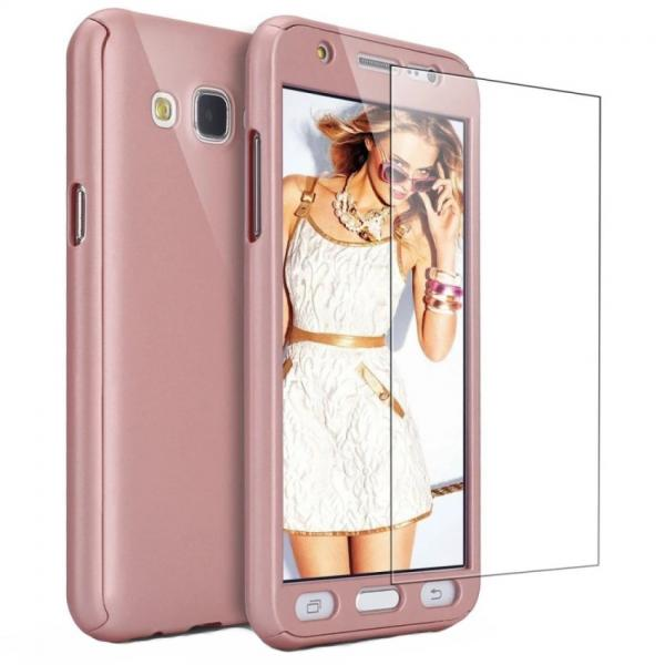 Husa Full Cover 360 + folie sticla Samsung Galaxy J3 (2016), Rose Gold 0