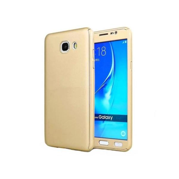 Husa Full Cover 360 + folie sticla Samsung Galaxy J5 Prime, Gold