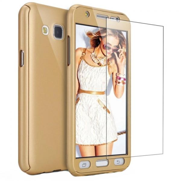 Husa Full Cover 360 + folie sticla Samsung Galaxy J7 (2016), Gold [0]