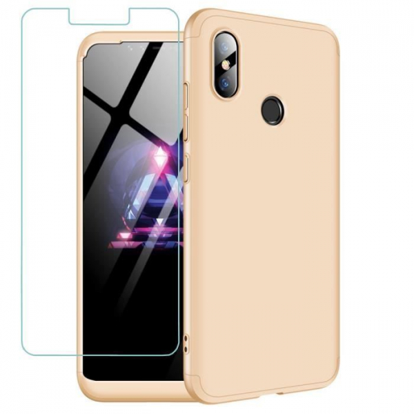Husa Full Cover 360 + folie sticla Xiaomi Mi 8, Gold 0