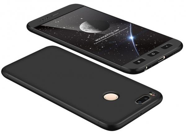 Husa Full Cover 360 + folie sticla Xiaomi Mi A1, Negru 0