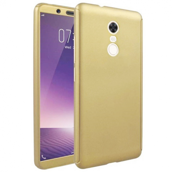Husa Full Cover 360 + folie sticla Xiaomi Redmi 5 Plus, Gold