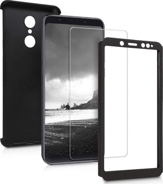 Husa Full Cover 360 + folie sticla Xiaomi Redmi 5 Plus, Negru [1]