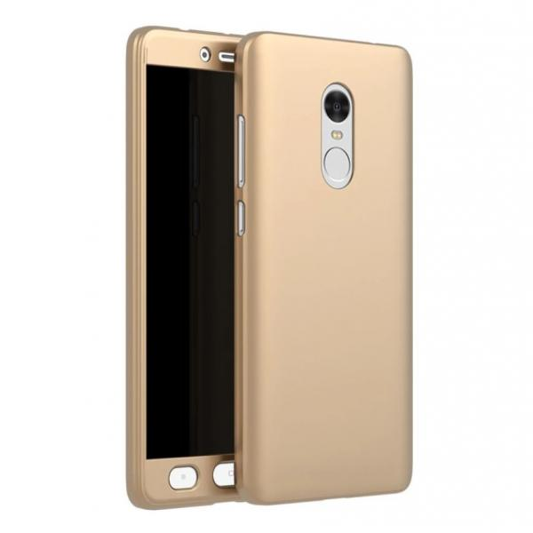 Husa Full Cover 360 + folie sticla Xiaomi Redmi Note 4, Gold 0