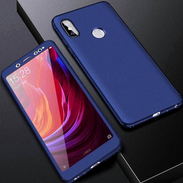 Husa Full Cover 360 + folie sticla Xiaomi Redmi Note 5 Pro, Albastru 1
