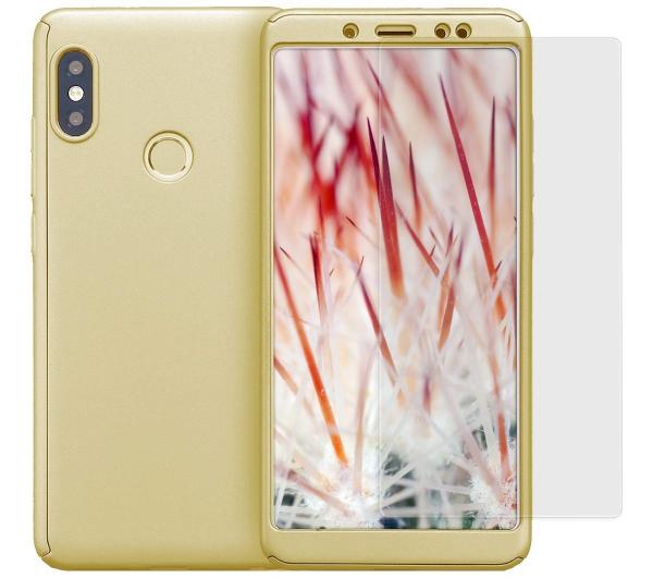 Husa Full Cover 360 + folie sticla Xiaomi Redmi Note 5 Pro, Gold 0