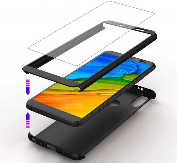 Husa Full Cover 360 + folie sticla Xiaomi Redmi Note 5 Pro, Negru [2]
