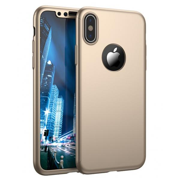 Husa Full Cover 360 iPhone X, Gold