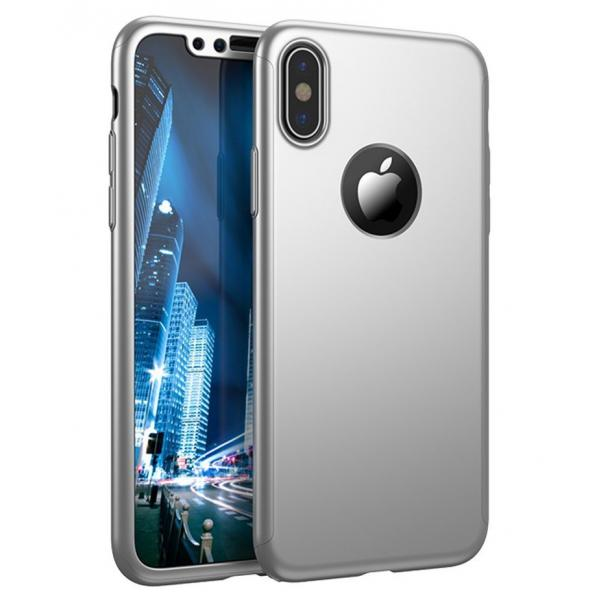 Husa Full Cover 360 iPhone X, Silver 0