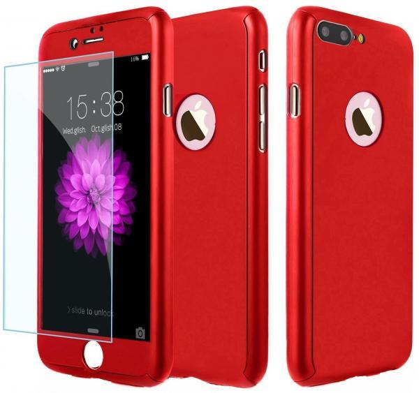 Husa Full Cover (fata + spate + geam sticla) pentru Apple iPhone 7 Plus, Red