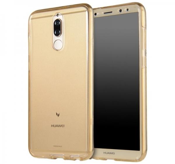 Husa Full TPU 360 fata spate Huawei Mate 10 Lite, Gold Transparent 0