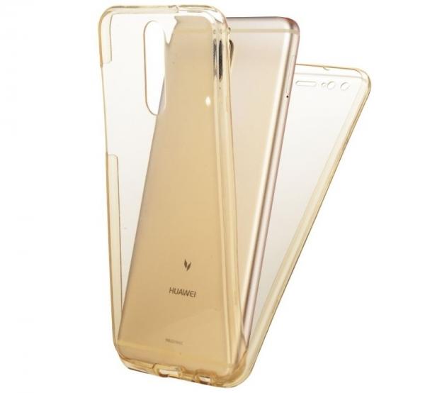 Husa Full TPU 360 fata spate Huawei Mate 10 Lite, Gold Transparent 1