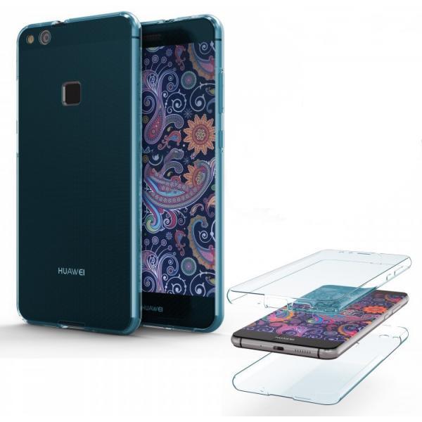 Husa Full TPU 360 (fata + spate) Huawei P10 Lite, Albastru Transparent 1