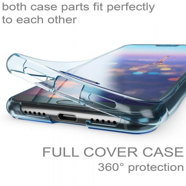 Husa Full TPU 360 fata + spate Huawei P20, Albastru transparent 1