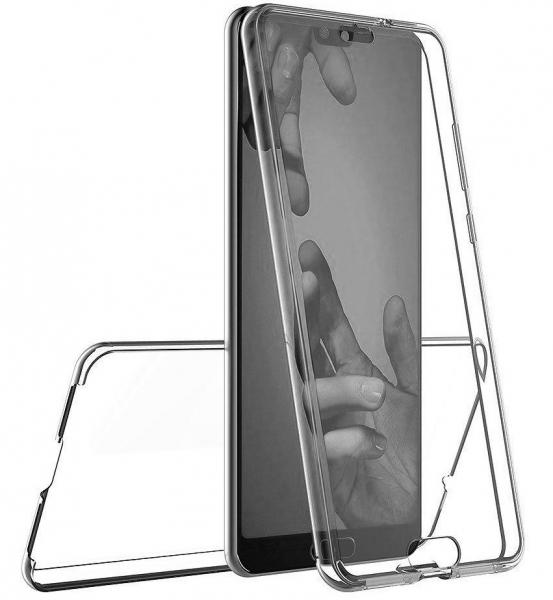 Husa Full TPU 360 fata + spate Huawei P20, Gri Transparent 2