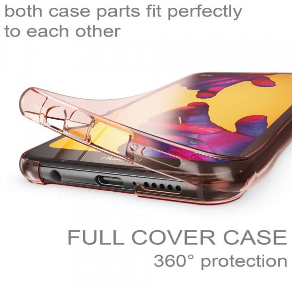 Husa Full TPU 360 fata + spate Huawei P20 Lite, Rose Gold transparent 1