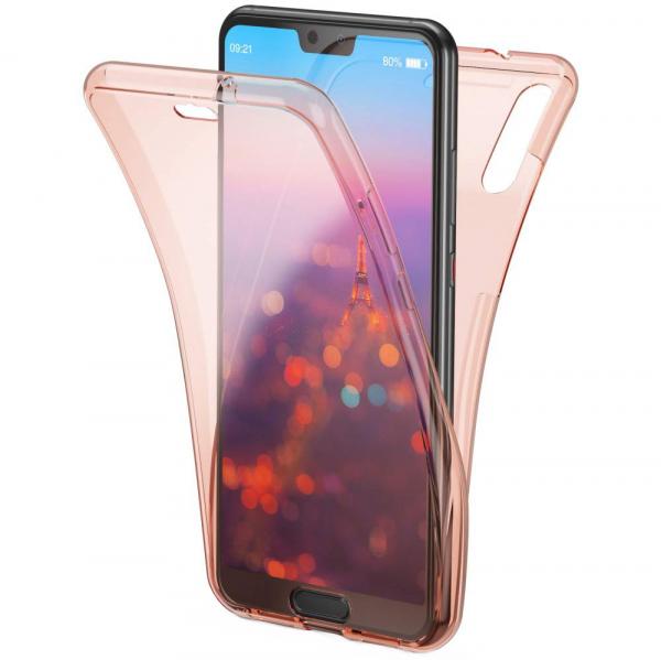 Husa Full TPU 360 fata + spate Huawei P20, Rose Gold transparent 0
