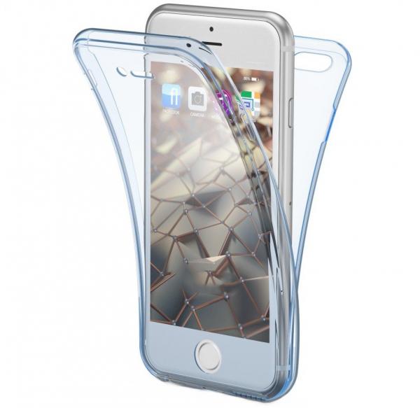 Husa Full TPU 360 fata + spate iPhone 6 / 6S, Albastru transparent 0
