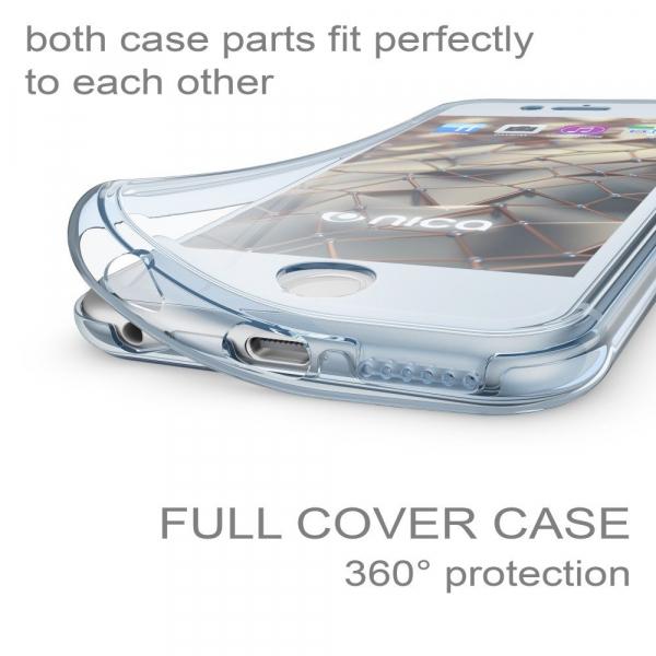 Husa Full TPU 360 fata + spate iPhone 6 / 6S, Albastru transparent 1