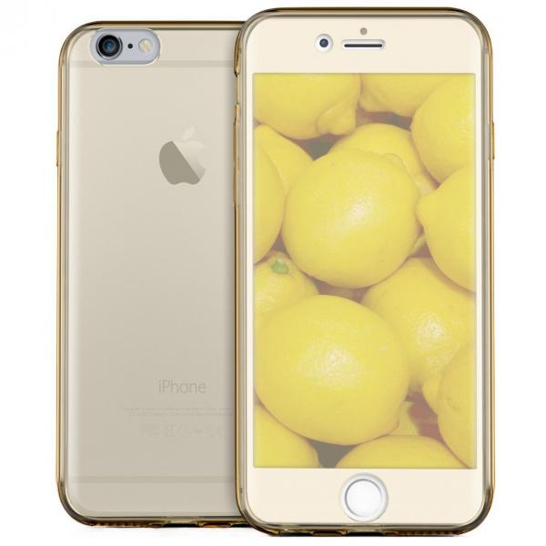 Husa Full TPU 360 (fata + spate) iPhone 8, Gold Transparent 0