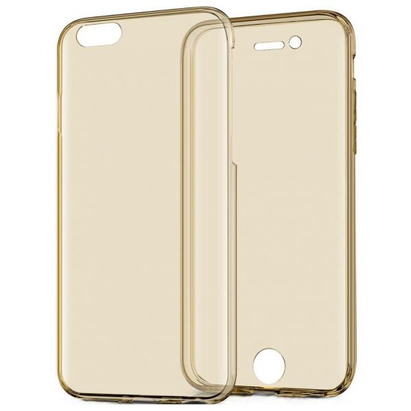 Husa Full TPU 360 (fata + spate) iPhone 8, Gold Transparent 1