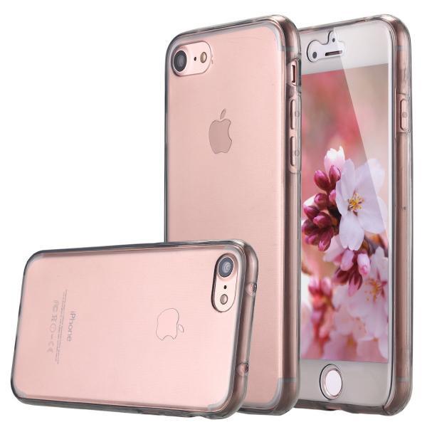 Husa Full TPU 360 (fata + spate) iPhone 8, Gri Transparent 2